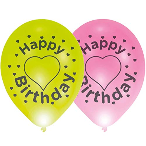 amscan 9901842 4 Latexballons LED Happy Birthday, Grün/Pink