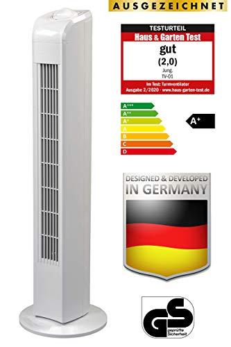 Jung TV01 Ventilator 78cm weiss, Testsieger 2020 Note 2,0 (Gut), Leise Turmventilator 57dbA max, Energiesparend 0,05kW/h