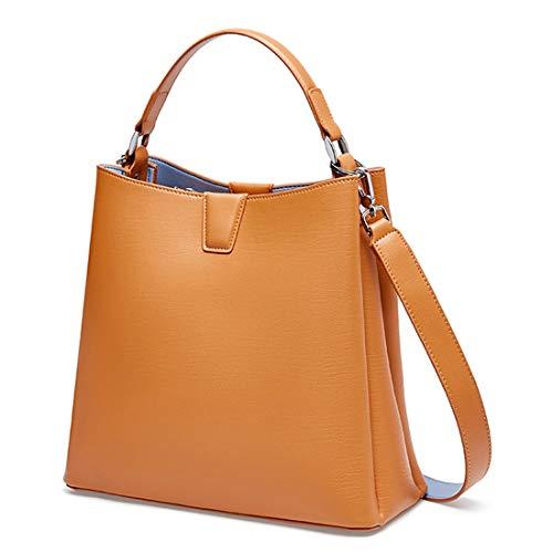 Heshe Leather Womens Handbags Tote Top Handle Bucket Bag Shoulder Bags Satchel Ladies Purses Crossbody Bag (Yellow)