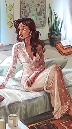 Diamond Painting Dama Elegante Diamond Painting Kit Completo Adultos,Punto de Cruz Diamante Niños,5D Pintura Diamante Bordado Punto Diamante Cuadros Decoración de Pared 30x40cm