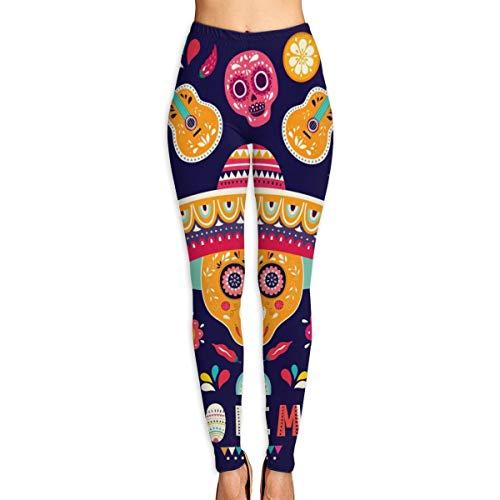 Pantalones yoga para mujer Secado rápido deportes al aire libre Pantalones entrenamiento cintura alta Hermosa ilustración vectorial con diseño para vacaciones mexicanas 5 mayo Cinco Mayo M