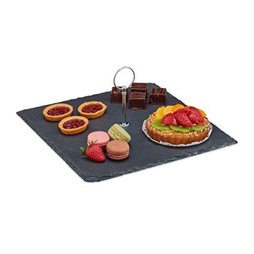Relaxdays Bandeja rectangular de pizarra con asa, para sushi, queso, postre, bandeja de pizarra, color antracita, 1 unidad