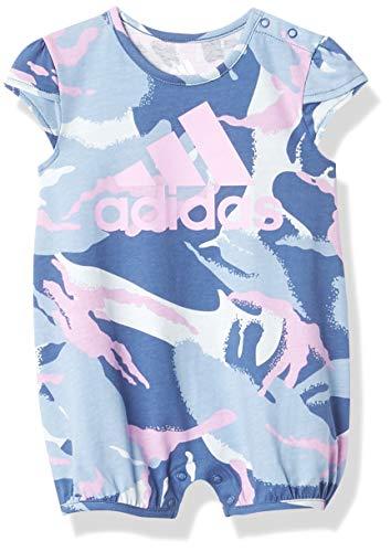 adidas Baby Girls' Shortie PRNT Romper, Crew Blue, 12 Months