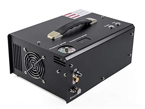 Matte black auto stop 12v/110v pcp air compressor pcp compressor oil free fan cooling for charging pcp air gun