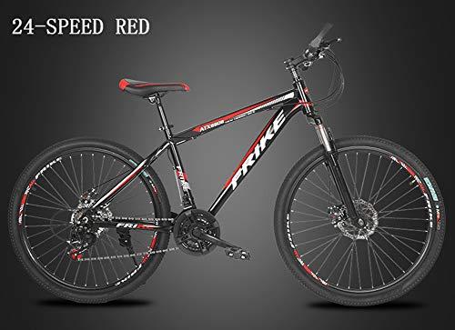 HUWAI Bicicleta Plegable con 24 de Velocidad, la suspensión Total de la Prima y Equipo de Calidad, Alto Contenido de Carbono de Acero de Doble Bastidor de suspensión de Bicicletas de montaña,Rojo