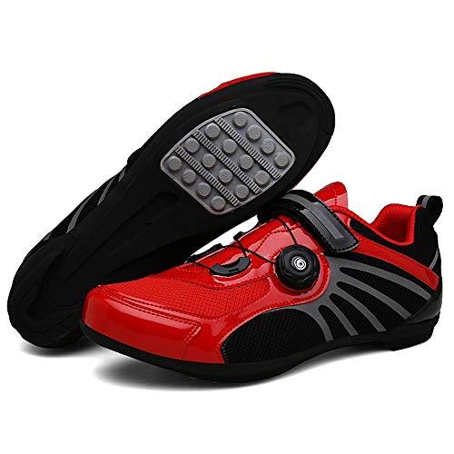 ZMMHW Zapatillas de Ciclismo autofrenables Transpirables Pro Bicicleta de Carretera Zapatillas de...