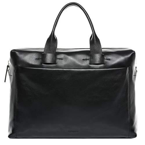 FEYNSINN Laptop Bag Troy Large Business Briefcase Real Leather 15.4 inch Laptop Portable Computer Satchel Leather Bag Men´s Bag Black
