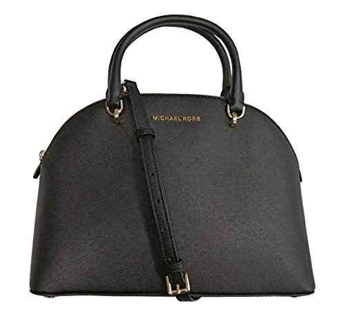 Michael Kors Emmy Dome Satchel Saffiano Leather Shoulder Bag Purse Handbag (Black), Medium
