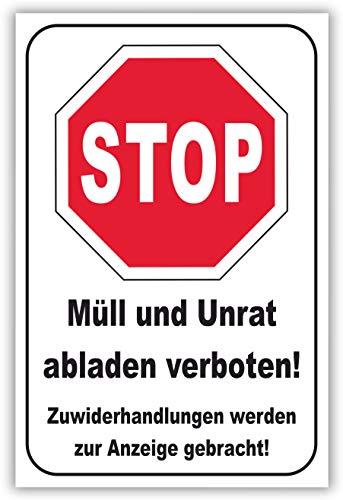 SCHILDER HIMMEL anpassbares Müll abladen verboten Schild 29x21cm Kunststoff, Nr 185 eigener Text/Bild verschiedene Größen/Materialien