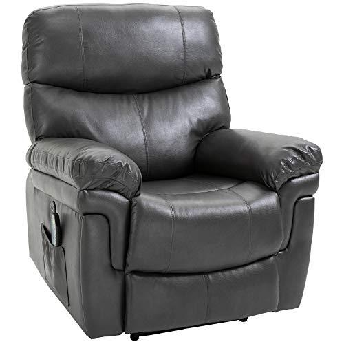 HOMCOM Massagesessel Relaxsessel mit Wärmefunktion und Vibration 160°-Liegeposition PU Grau 94 x 93 x 106 cm