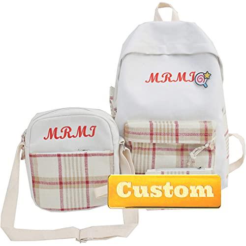 Mzhizhi Personalizzato Nome Borsa Scuola Adolescente Casual Sport Zaino Daypack 20l (Colore: Rosso, Taglia unica)