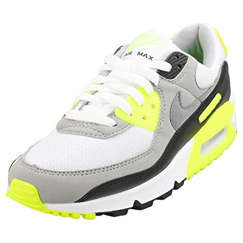 Nike W Air Max 90, Chaussure de Course Femme, Blanc/Gris Particule-Volt-Noir, 36.5 EU