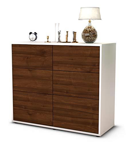 Stil.Zeit Sideboard Dalida/Korpus Weiss matt/Front Holz-Design Walnuss (92x79x35cm) Push-to-Open Technik & Leichtlaufschienen
