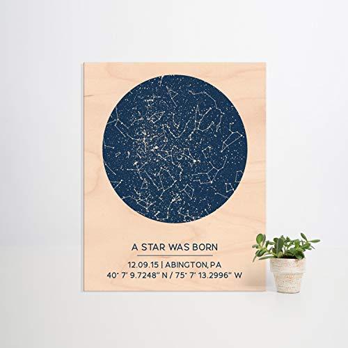 Ced454sy Mapa de estrella personalizado en madera de 20 x 25 cm regalo personalizado para su nuevo bebé regalo decoración de guardería impresión de madera él