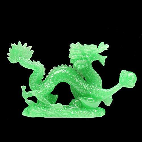 N\C Chinesischer Feng Shui Geomancy Drache grüne Jade Figur Statue Ornamente für Glück und Erfolg Dekoration Home Craft