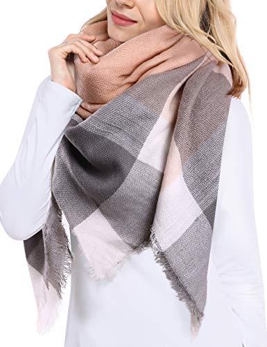 Bess Bridal Womens Plaid Blanket Winter Scarf Warm Cozy Tartan Wrap Oversized Shawl Cape