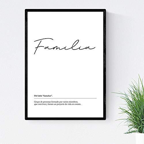 Lámina Palabra Familia Lámina nordicas blanco y negro. Poster 250 gr y tintas alta calidad Tamaño A4 Enmarcado con marco negro