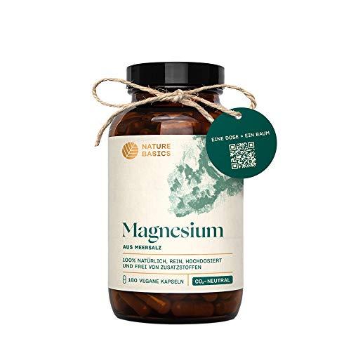 Nature Basics® natürliches Magnesium im Glas | frei von Zusatzstoffen & CO-neutral | 180 vegane Kapseln | 400mg pro Tagesdosis | Magnesiumoxid hochdosiert aus natürlichem Meersalz | nachhaltig