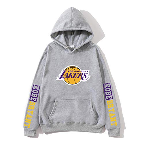 BAIDEFENG Suéter con Capucha de Baloncesto para Hombre Street Suéter con Capucha de otoño e Invierno Plus Terciopelo de Manga Larga Los Angeles Lakers Kobe NBA Sudaderas con Capucha-Gris_Medio