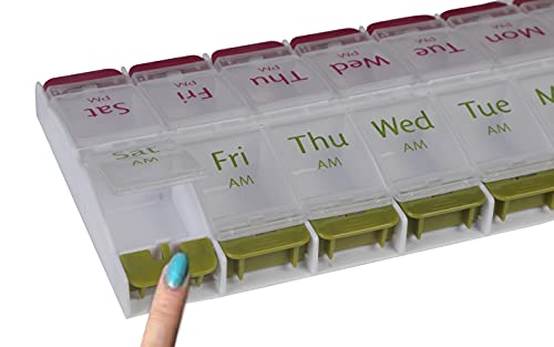 EZYFIT Pill Medicine Organizer Reminder Box 7 Days AM PM I Large Compartments for Bigger Pills Container Cases with Unique Push-Button, Pack of 1
