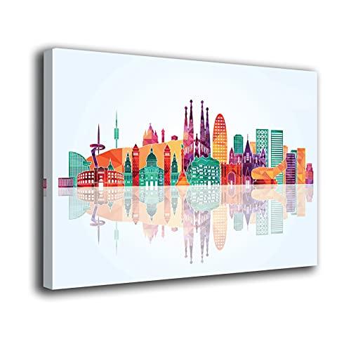 Desconocido Cuadro Lienzo Canvas Skyline Barcelona Colores monumentos – Varias Medidas - Lienzo de Tela Bastidor Madera de 3 cm - Impresion Alta resolucion (50, 38)