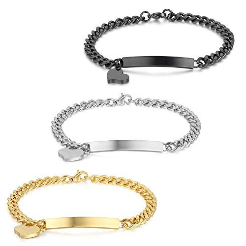JewelryWe Schmuck 3PCS Edelstahl Armkette Damenarmband Charmsarmband Herz- Anhänger Armband für Damen, kostenlos Gravur