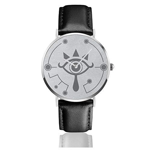 Unisex Business Casual Legend of Zelda Breath of The Wild Sheikah Eye Uhren Quarz Leder Uhr mit schwarzem Lederband für Männer Frauen Junge Kollektion Geschenk