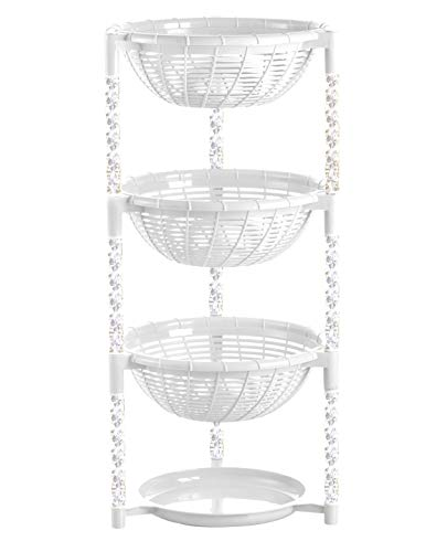 Uncluttered Designs Stacking Basket Bins (3 Tier + Plate) for Fruit, Produce, Kitchen Cabinet, Pantry, Closet, Bedroom, Bathroom Organization & Storage (White)