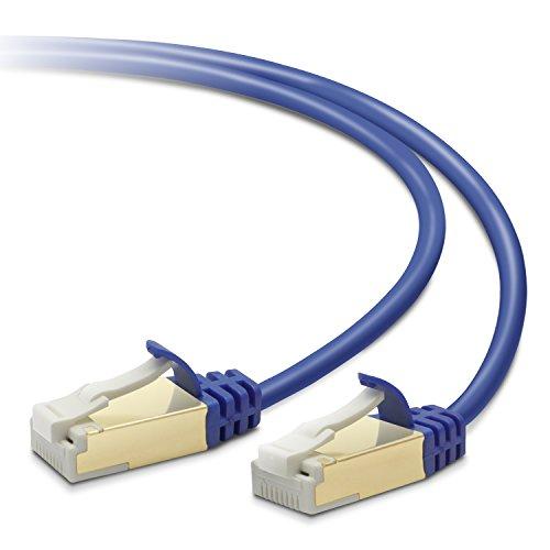Elecom LD-TWSST/BM30 Slim Cat 7 RJ-45 High Speed Ethernet LAN Network Cable, 3m, Blue Metallic
