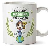 MUGFFINS Taza Madrina - La Mejor Madrina del Mundo - Taza Desayuno/Idea Regalo Día de Pascua. Cerámica 350 mL