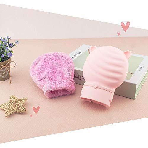 Alician - Borsa dell'acqua calda in silicone con copertura in peluche, riscaldamento a microonde, mini scaldamani Orsetto rosa.
