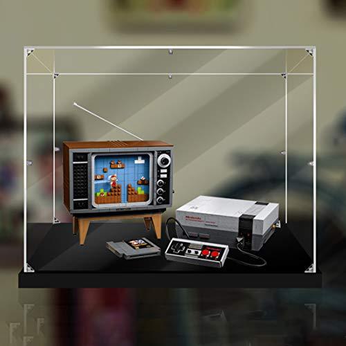 Likecom Acryl Schaukasten Vitrine, Perspex Staubbeweis Show Fall Base für Lego Nintendo Entertainment System 71374 (Kein Lego Kit) - (verdickte Schwarze Basis) S-Klasse ohne Kleber