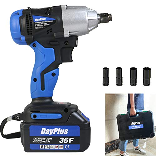 dicn Electric Impact Wrench Cordless with 1/2 inch Drive & Sockets Set...