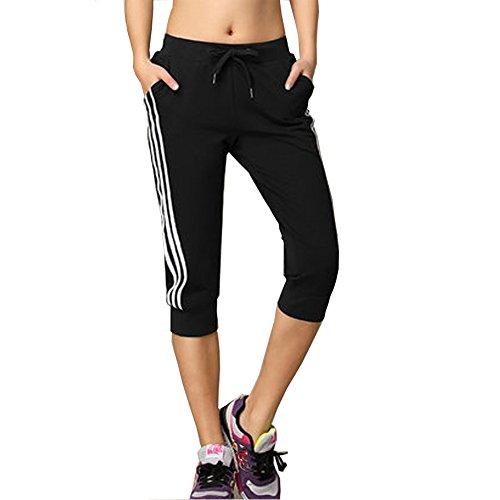DOXUNGO Freizeithose, 3/4 Länge Hose, Fitnesshose, dünne Sporthose, Pilateshose Yogahose für Sommer (schwarz, XL)