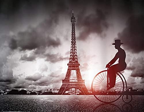 FOURFOOL Kit Numero Fai da Te per Diamond Painting 5D,Uomo sulla Bicicletta retrò Accanto alla Torre Eiffel Parigi Francia drammatico Cielo Sun,Strass da Parete Forniture artistiche su Tela,30x40cm