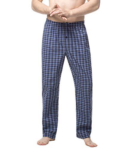 LAPASA Pantalon de Pyjama Homme Bas de Pyjama à Carreaux 100% Pur Coton/Flanelle Doux Chaud Léger Confortable M38&M39 (Coton Pur (Carreaux Noir & Bleu), L (Taille: 91-96cm/Longueur: 111.5cm))