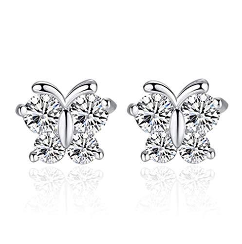 NOBRAND Aretes de Cristal Pendiente de Mariposa para Mujer Joyas de Plata