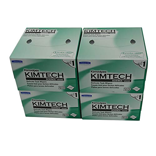iSonic - KW01x4(B) Kimberly-Clark Professional Kimtech Science KimWipes Delicate Task Wipers, 4.4 x 8.4 in. 1-ply, 280 Sheets/Box, 4 packs, KW01x4