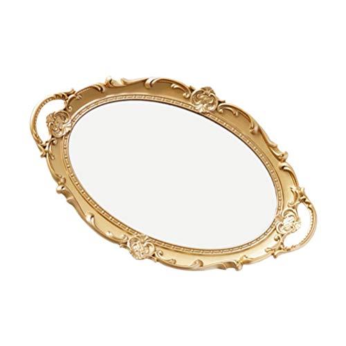 VALICLUD Vintage Spiegel Tablett Oval Retro Gold Spiegel Spiegel Tablett Kommode Veranstalter Tablett Schmuck Schmuck Tablett Schmuck Geschirr Ringhalter Veranstalter Armbänder Platte für