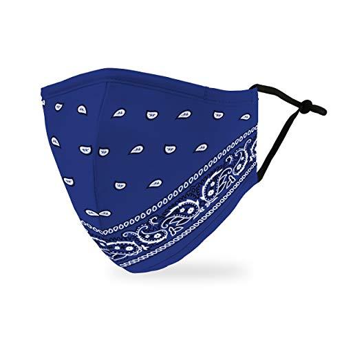 Weddingstar Maschera facciale in tessuto lavabile per adulti Copertura protettiva in tessuto riutilizzabile e regolabile con tasca per filtro antipolvere - Bandana blu