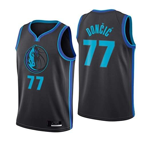 XYFF Camiseta de Baloncesto para Hombre Luka Doncic # 77 Camiseta sin Mangas de los Dallas Mavericks Tecnología de prensado en Caliente 100% poliéster-XS(160~170cm)
