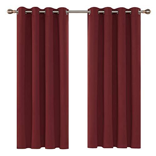 Deconovo Lot de 2 Double Rideau Occultant et Thermique Isolants Oeillets Rideaux Unis de Fenêtre Solide Lourd pour Chambre Salle à Manger 132x183cm Rouge