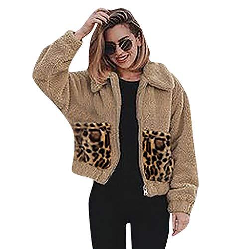 Lilicat Damen Strickjacken Casual Mantel Plüschjacke Winter Leopard Cardigan Winterjacke Steppjacke Warmen Outwear Reißverschluss Lange Ärmel Einfarbig Sexy Parka Outdoorjacke
