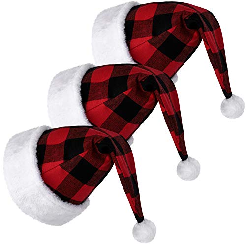 Ruisita 3 Pack Santa Hat Adults Santa Hat Christmas Red and Black Plaid Santa Hat Extra Thicken Unisex Velvet Comfort Classic Plush for Christmas New Year Festive Holiday Party Supplies