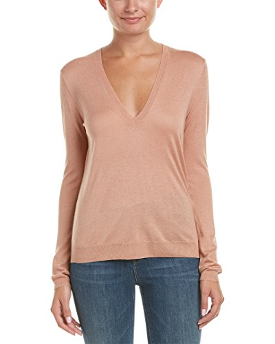 Theory Women's Yulia V Fine Cashsilk Sweater, Pale Rose, M
