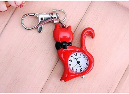 Pocket & Fob Watches - Chaoyada Quartz Cat Pocket Watch Necklace Woman Fob Watches Black Round Convex Lens Glass Picture - Retro Nurse Bag & Watch Check Fob Watch Waterproof Steel Watch 3