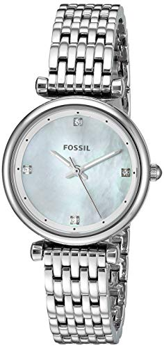 Fossil Women's Mini Carlie Stainless Steel Quartz Watch, Color: Silver-Tone, 12(Model: ES4430)