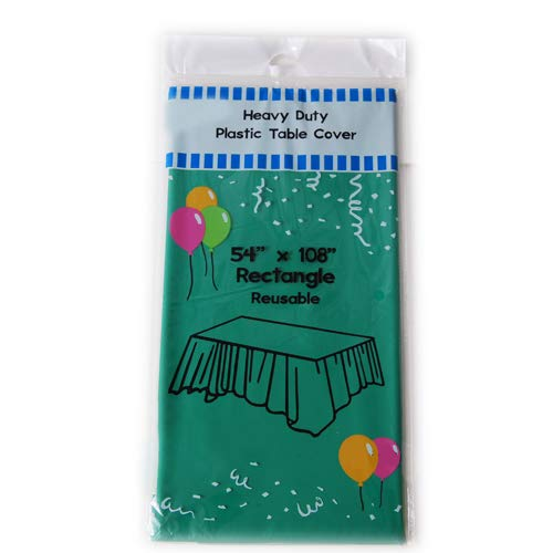 """Evershine (12-Pack) Heavy Duty Plastic Table Covers Tablecloth (Reusable) (Rectangle 54"""" X 108"""", Emerald Green)"""