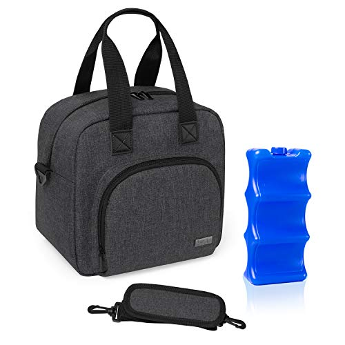 Luxja Breastmilk Cooler Bag with an Ice Pack (Hold 6 Breastmilk Bottles, 5-9 Ounces), Leakproof Cooler Bag for Breast Milk and Bottle Set, Black