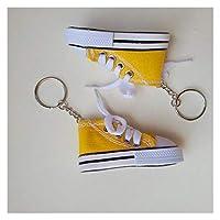 ミニ玩具人形左靴キーリングシャロン人形カジュアルストラップスニーカーカジュアルシューズキーホルダー (色 : Yellow)